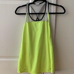 Nike Fluorescent Yellow Green Dri Fit Tank, XL